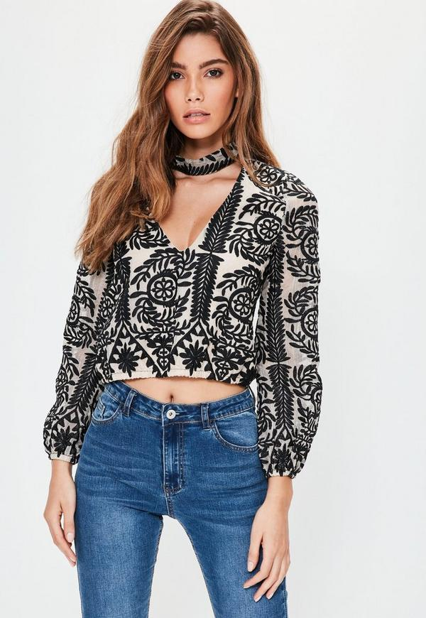 Petite Cream Embroidered Choker Neck Top