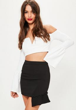 Petite Exclusive Black Button Frill Hem Mini Skirt