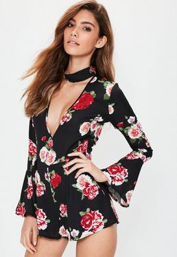 Petite Black Floral Print Choker Neck Playsuit