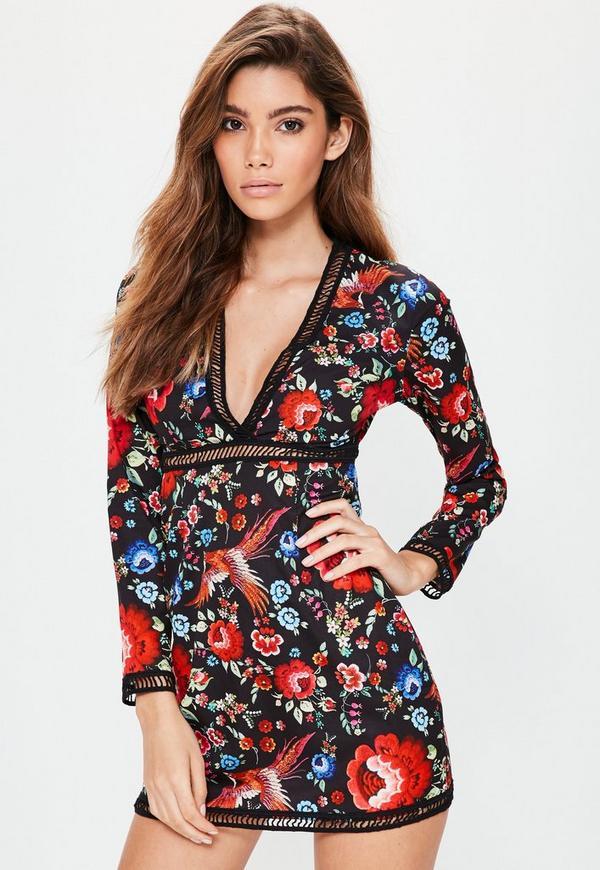 Petite Exclusive Black Floral Print Plunge Neck Dress