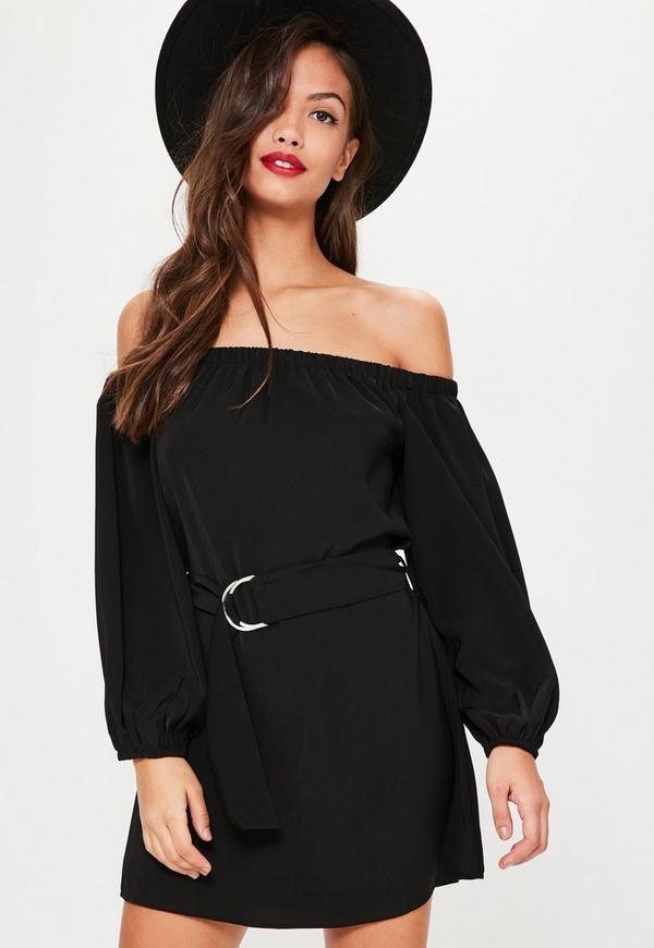Petite Black Bardot Belted Shirt Dress
