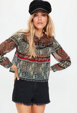 Petite Exclusive Black Paisley Button Crop Blouse