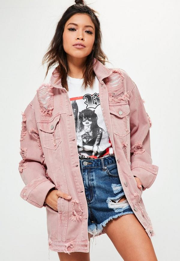 Petite Pink Distressed Denim Jacket Missguided