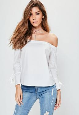 Petite Exclusive White Cotton Tie Cuff Bardot Top