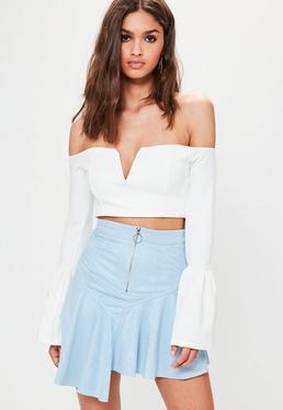 Petite Blue Faux Suede Frill Hem Mini Skirt