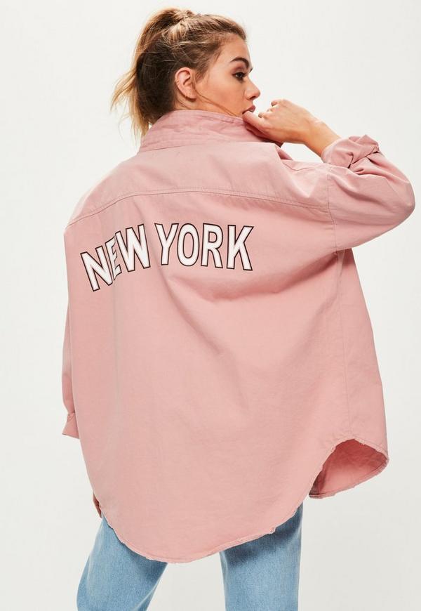 Petite pink slogan back oversized denim shirt