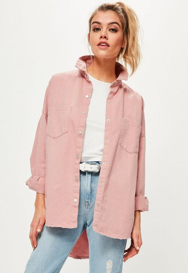 Petite Pink Slogan Back Oversized Denim Shirt   Missguided