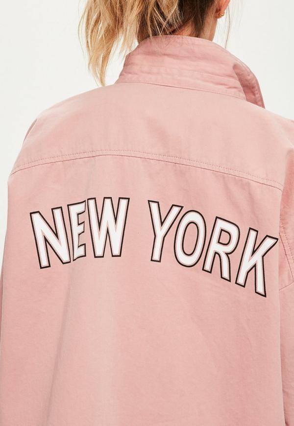 Petite Pink Slogan Back Oversized Denim Shirt | Missguided