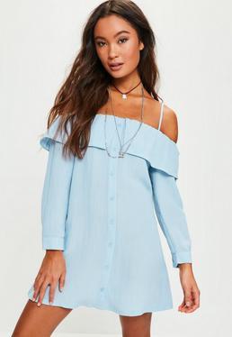 Robe chemise bleue à épaules dénudées et froufrous Petite