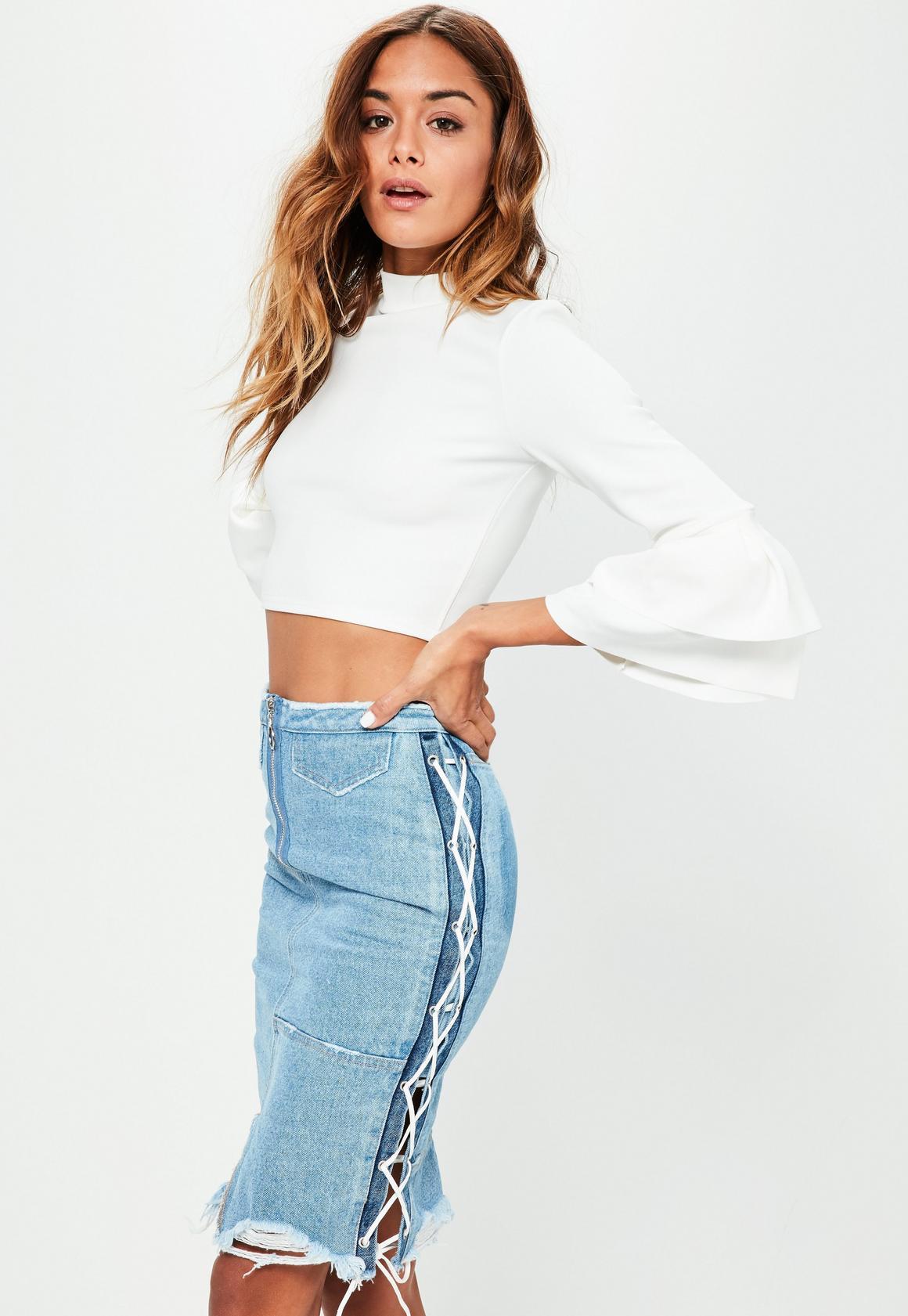 Petite Blue Denim Lace Up Midi Skirt   Missguided