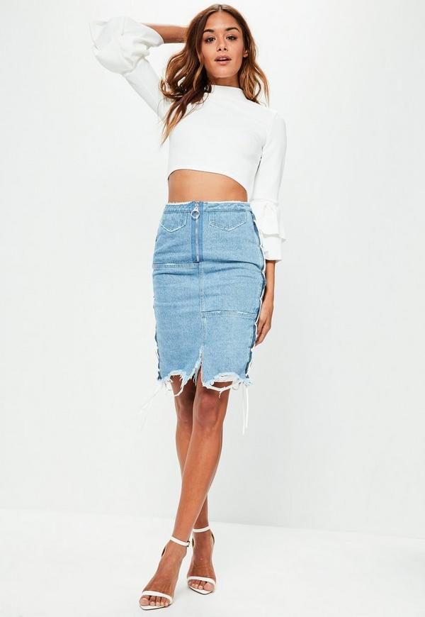 Petite Blue Denim Lace Up Midi Skirt | Missguided