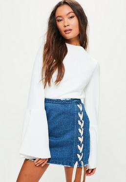 Petite Blue Lace Up Front Denim Skirt