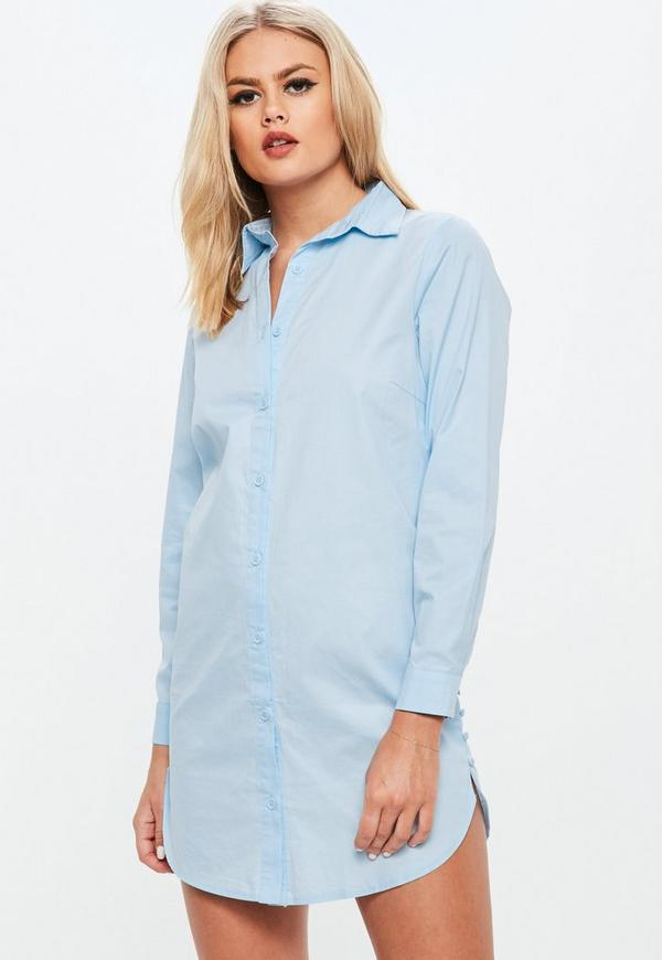 Petite Blue Cover Button Detail Shirt Dress