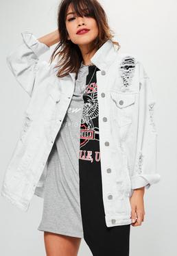 Biała jeansowa kurtka katana z dziurami Petite