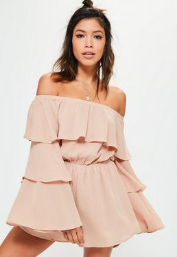 Petite Nude Cheesecloth Frill Playsuit