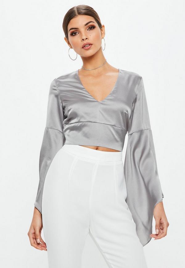 Petite Grey Satin Flared Sleeve Crop Top