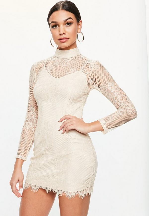 Petite Nude Lace High Neck Dress