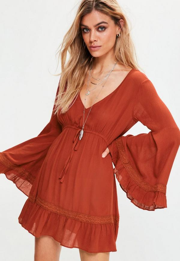 Petite Exclusive Orange Bell Sleeve Cheesecloth Dress
