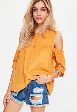 Petite Yellow Cotton Cold Shoulder Smock Top