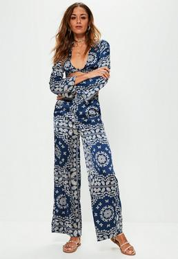 Petite Navy Satin Printed Wide Leg Trousers