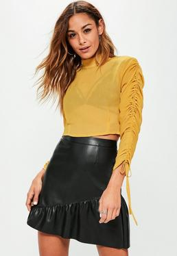 Petite Exclusive Yellow Chiffon Ruched Sleeve Crop Blouse