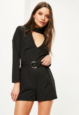 Petite Exclusive Black Belted Choker Neck Romper