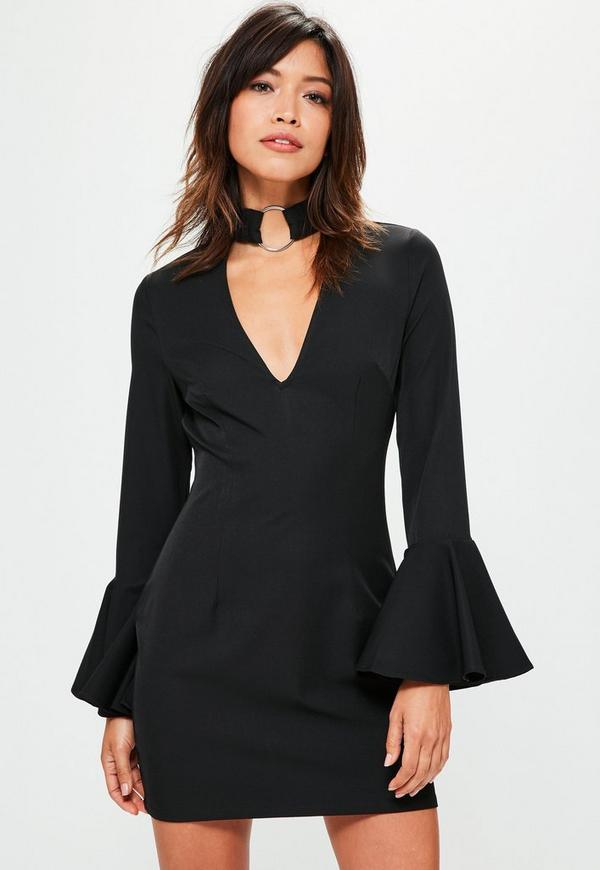Petite Black Frill Sleeve Choker Neck Dress