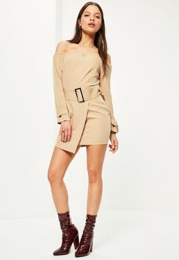 Petite Exclusive Nude Bardot Belted Mini Dress