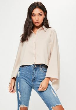 Petite Exclusive Nude Flared Sleeve Cropped Shirt