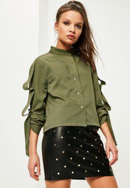Petite Exklusives kurzes Hemd mit Bänderdetails in Khaki