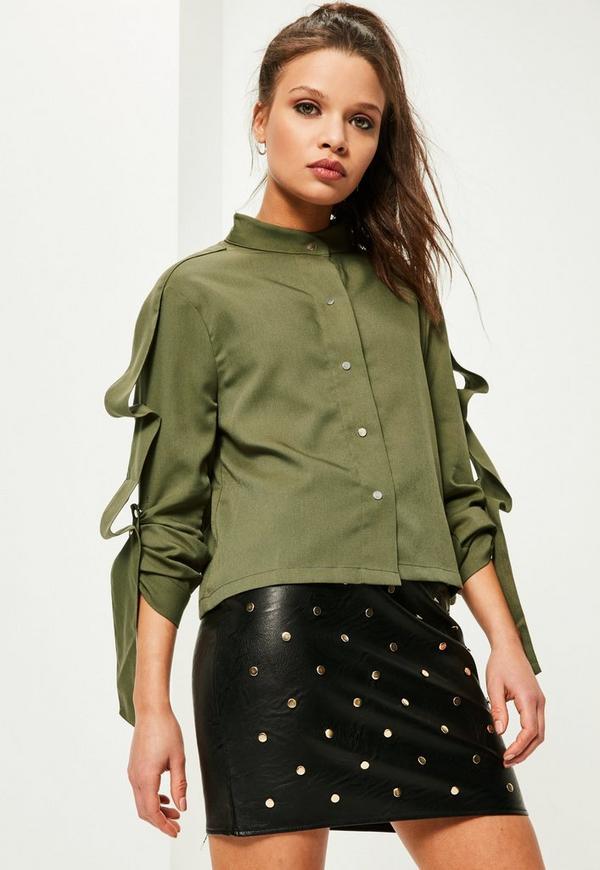 Petite Khaki Ruffle Detail Cropped Shirt
