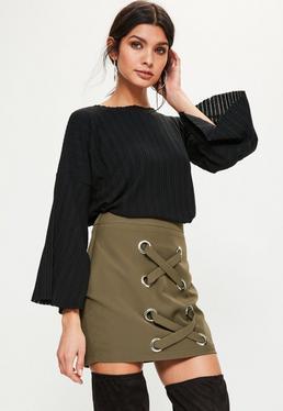 Petite Exclusive Khaki Lace Up Mini Skirt