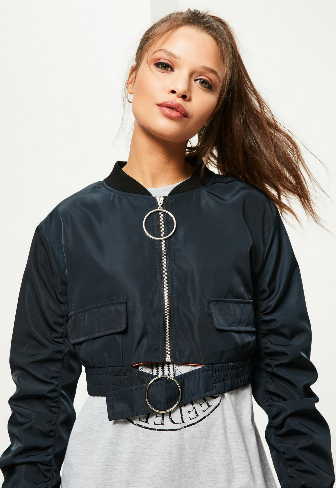 Petite Navy Oversized Ring Pull Crop Bomber Jacket | Missguided