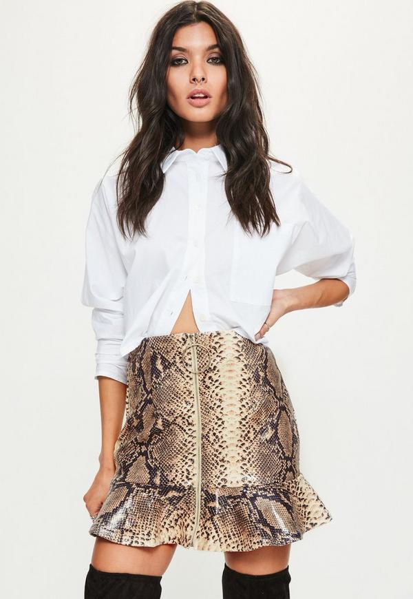 Petite Brown Snake Print Faux Leather Frill Skirt