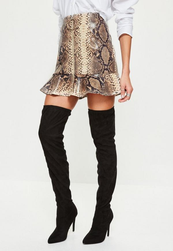 Petite Brown Snake Print Faux Leather Frill Skirt | Missguided Ireland