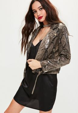 Petite Brown Snake Print Wet Look Biker Jacket