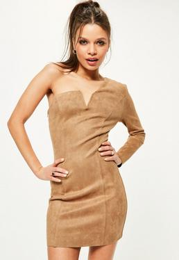 Petite Exclusive Brown Faux Suede One Sleeve Mini Dress