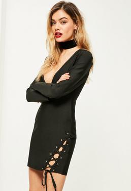 Czarna ekskluzywna bandażowa sukienka z wiązaniem po boku petite