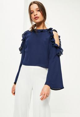 Petite Exclusive Navy Cold Shoulder Blouse