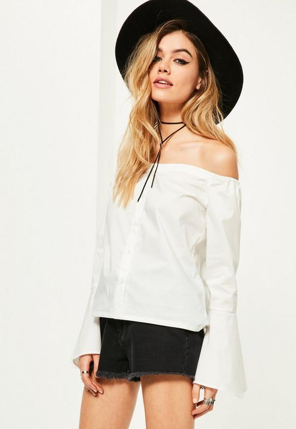 Petite White Trumpet Sleeve Button Up Blouse