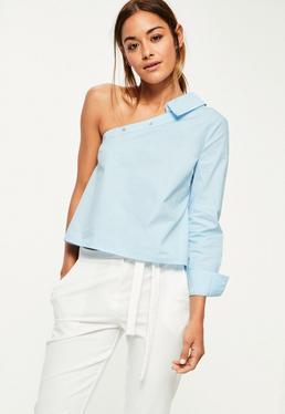 Niebieska bluzka koszula z jednym rękawem Petite