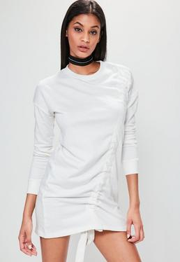 Petite White Ruched Detail Sweater Dress