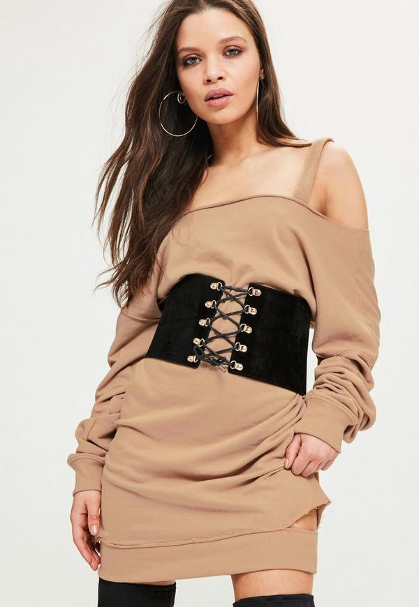 Petite Brown Off the Shoulder Jumper Dress