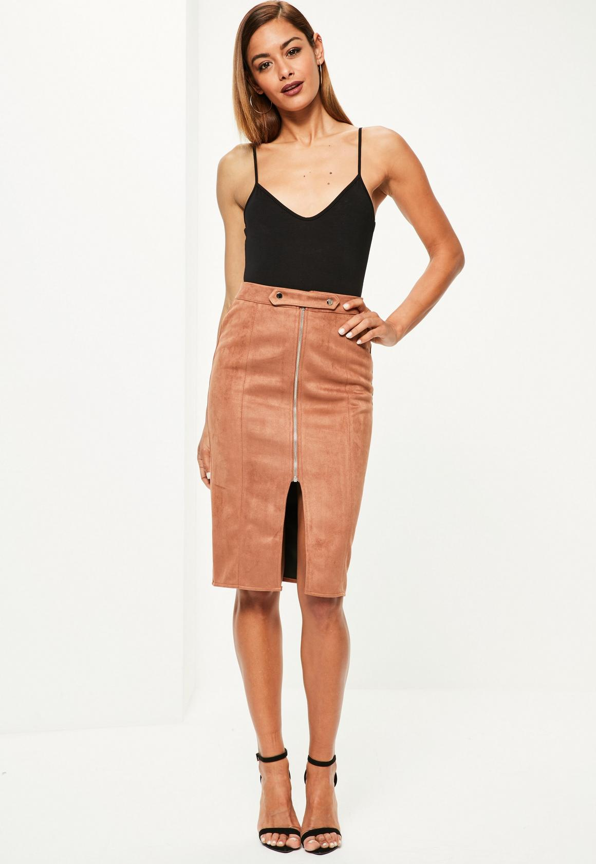 Petite Brown Faux Suede Zip Front Midi Skirt - Missguided