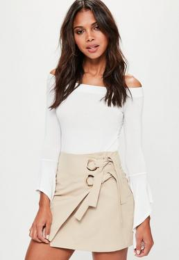 Petite Exclusive Beige Wrap Double Ring Tie Side Skirt