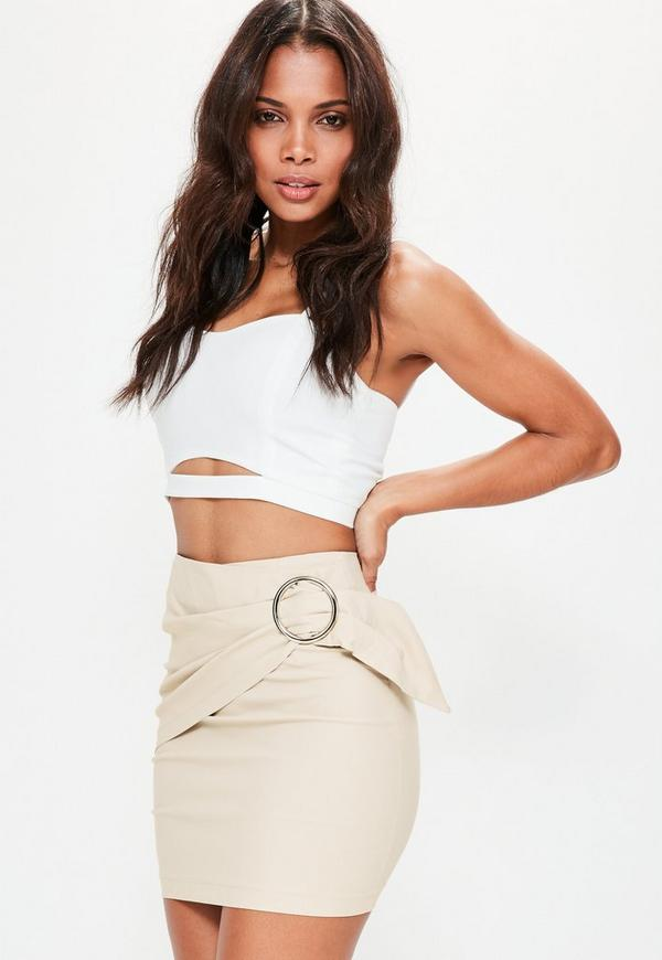 Petite Exclusive Nude Ring Detail Mini Skirt