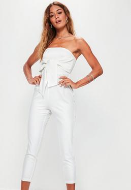 Petite White Tie Front Bandeau Jumpsuit