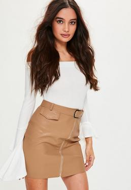 Petite Nude Faux Leather Belted Mini Skirt
