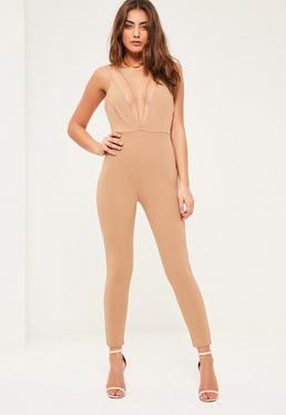Petite Brown Harness Plunge Neckline Jumpsuit