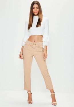 Petite Nude Ring Waist Cigarette Trousers
